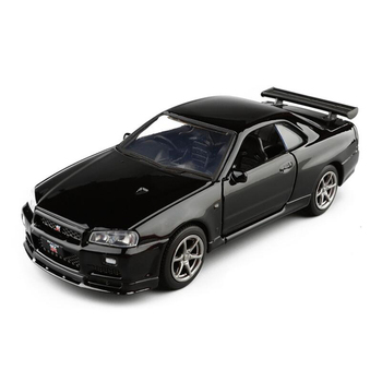 цена на 1:36 Alloy Diecast Toy Car Vehicle Nissan GTR R34 Car Metal simulation Model Collection Display Model Boys Gift Toys For Child
