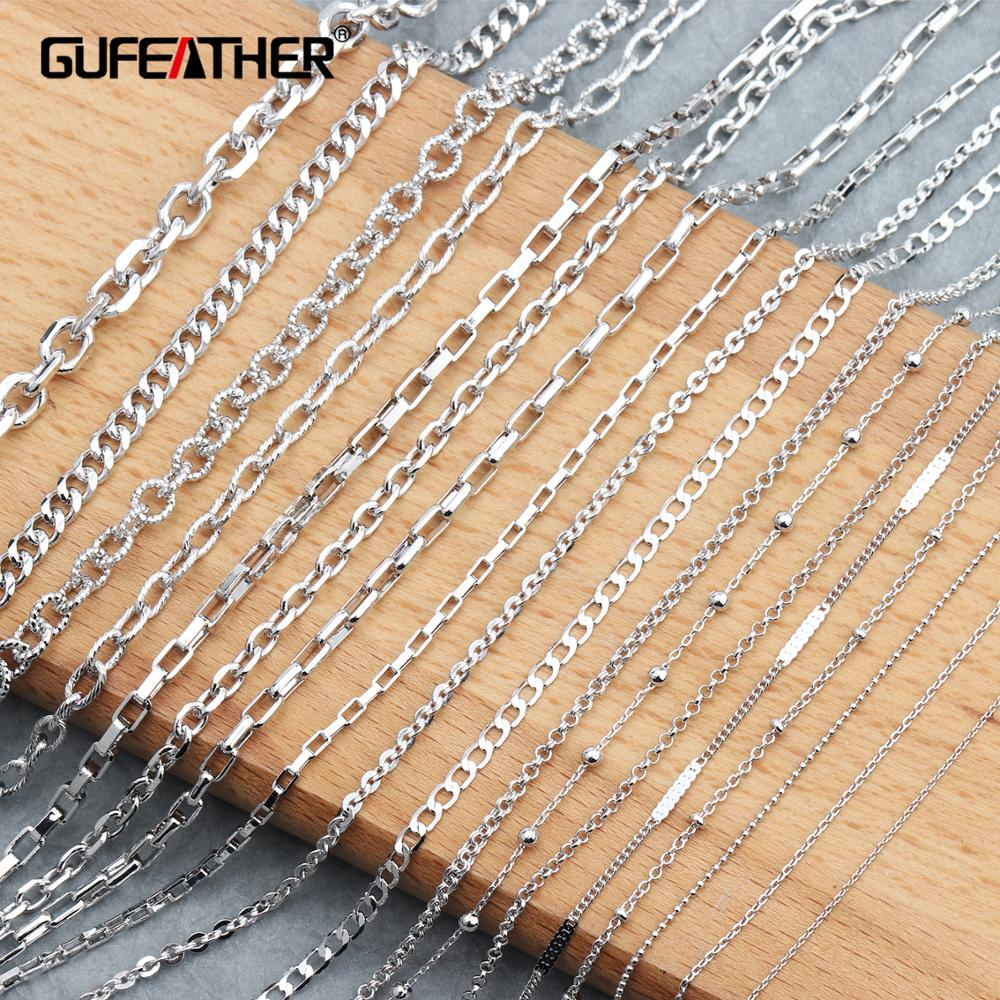 GUFEATHER C64,jewelry Accessories,platinum Plated,copper Chain,environmental Protection,diy Chain Necklace,jewelry Making,3m/lot