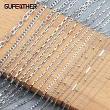 Gufeather c64, acessórios de jóias, ródio chapeado, corrente de cobre, proteção ambiental, colar de corrente diy, fabricação de jóias, 3 m/lote