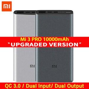 Image 1 - Xiaomi Mi 3 Pro 10000 mAh güç bankası İki yönlü hızlı şarj USB C çift giriş çıkış PLM12ZM 10000 mAh cep telefonu için Powerbank
