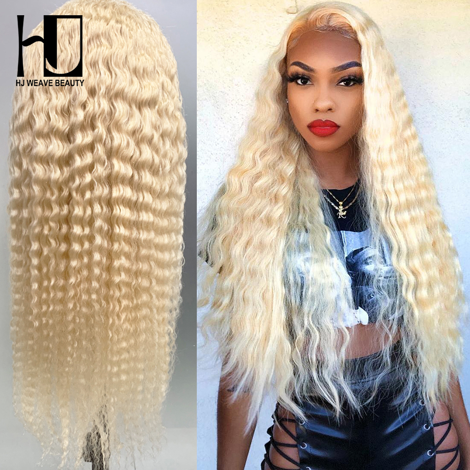 13x6 Curly Human Hair Wig 613 Blonde Lace Front Human Hair Wigs Brazilian Deep Wave Wigs For Black Women HD Transparent Lace Wig