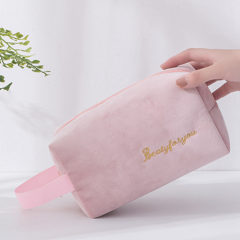 Travel Portable Cosmetic Bag Storage Flannel Organizer Waterproof Makeup Case Women Girl Zipper Wash Beauty Make Up Pouch Bag