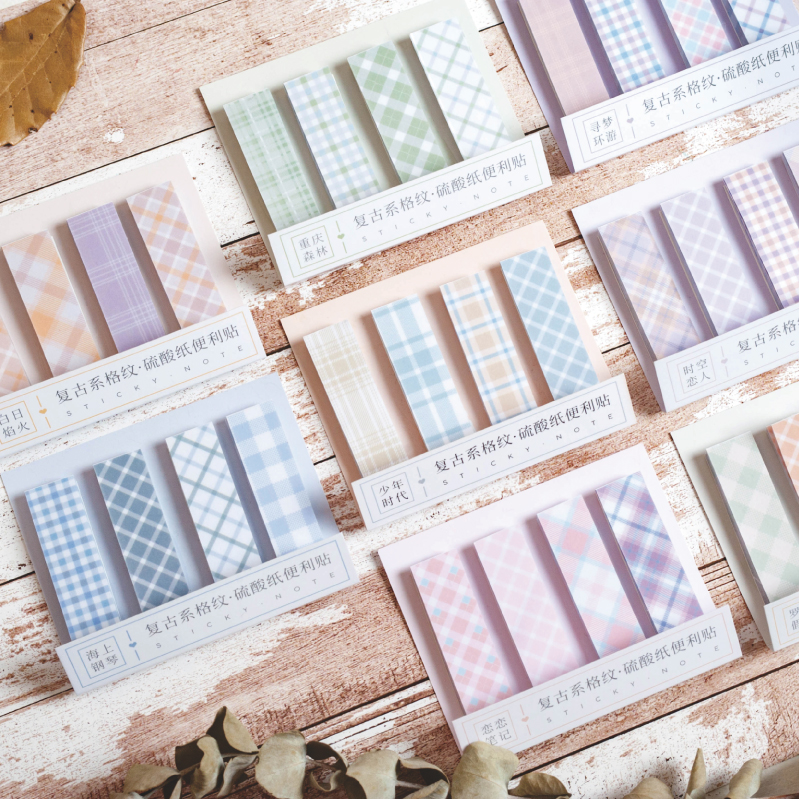 80sheets/pad Color Grid Sticky Notes Vintage Memo Pad Index Tab Self-stick Paper Planner