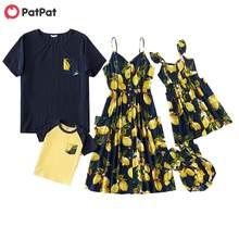 Patpat 2021 novo verão mosaico família combinando vestido série limão tanque vestidos macacão topos combinando conjuntos de roupas família olhar