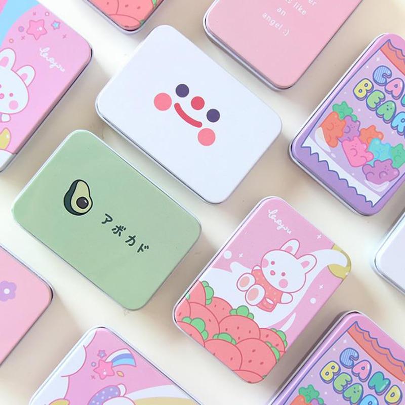 1 Pcs Cute Korean Stationery Avocado Rabbit Bear Flower Square Metal Washi Tape Jewelry Storage Box Desk Organizer Card Holders