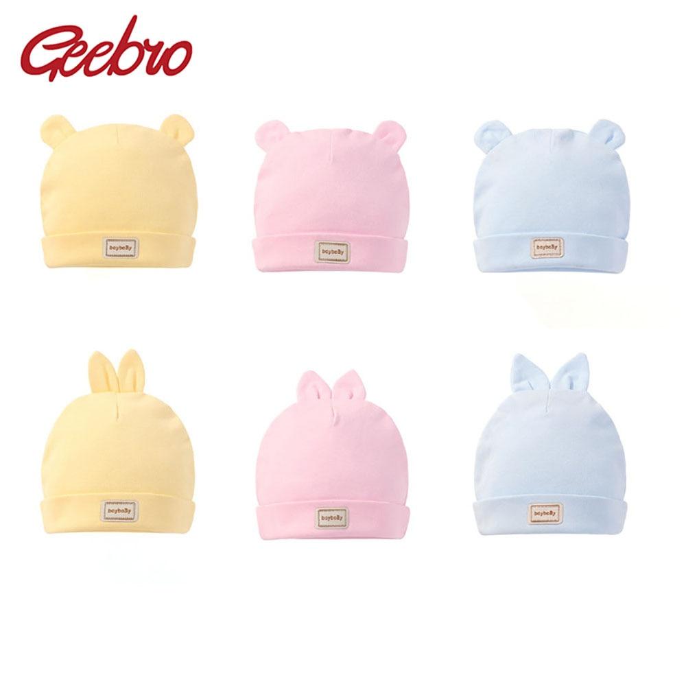Geebro Fashion Cute Cotton Newborn Hat Lovely Warm Bear Ears Toddler Skull Cap For 0-3 Months Baby Boy Girls Angels