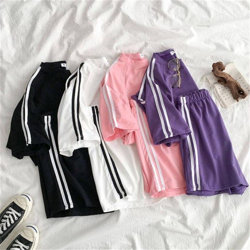 2020 Summer Women Sport Set Casual Streetwear Striped O Neck T Shirt +high Waist Elastic Short Pants  Female 2 Piece Sets