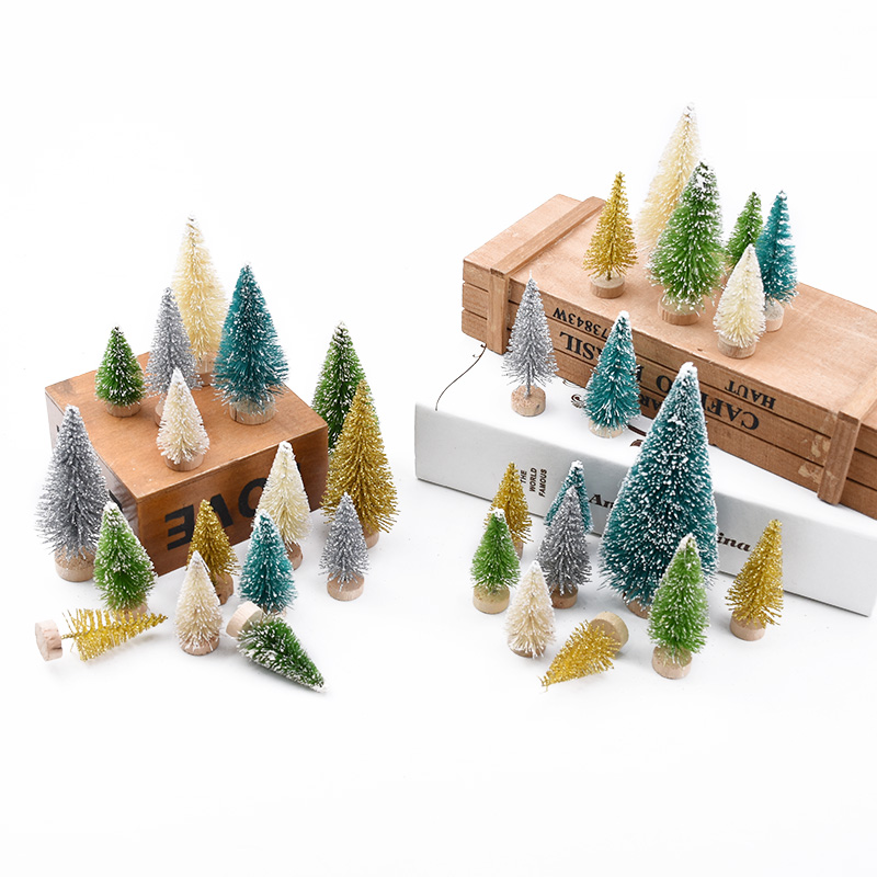 6pcs green Mini Christmas Tree Sisal Silk Cedar home decor accessories Small Santa Snow Frost Village House Festival Supplies image