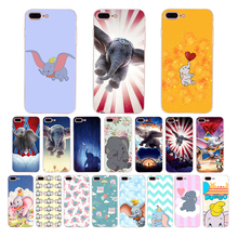 HOUSTMUST Cartoon Dumbo soft phone case For iphone X XS MAX XR 7 8 6 S Plus Lovely Fun Funny Elephant 5 se cover silicone shell