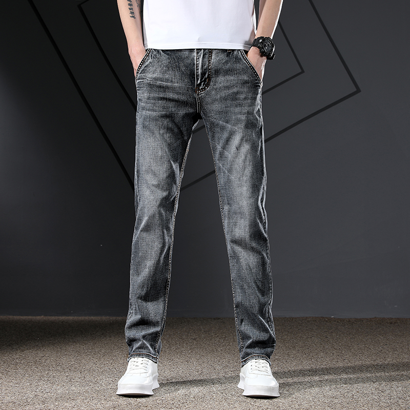 KSTUN Men's Jeans Classic Straight Regular Fit Grey Blue Stretch Jeans for Men Spring Summer Casual Denim Pants Long Trousers 17