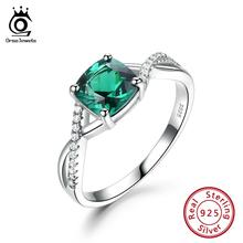 ORSA JEWELS Exquisite 925 Sterling Silver Women Emerald Ring Square Cut Spiral Wave Shape Ring Anniversary Fine Jewelry VSR20
