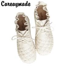 Careaymade نمط جديد رئيس طبقة جلد البقر نقية اليدوية نسج الأحذية ، سيدة الرجعية الفن موري فتاة الأحذية ، سيدة حذاء كاجوال ، 4 اللون