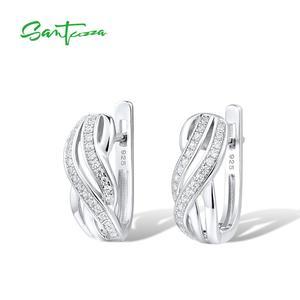 Image 2 - SANTUZZA כסף עגילים לנשים טהור 925 כסף סטרלינג עגילי כסף לבן CZ brincos תכשיטים