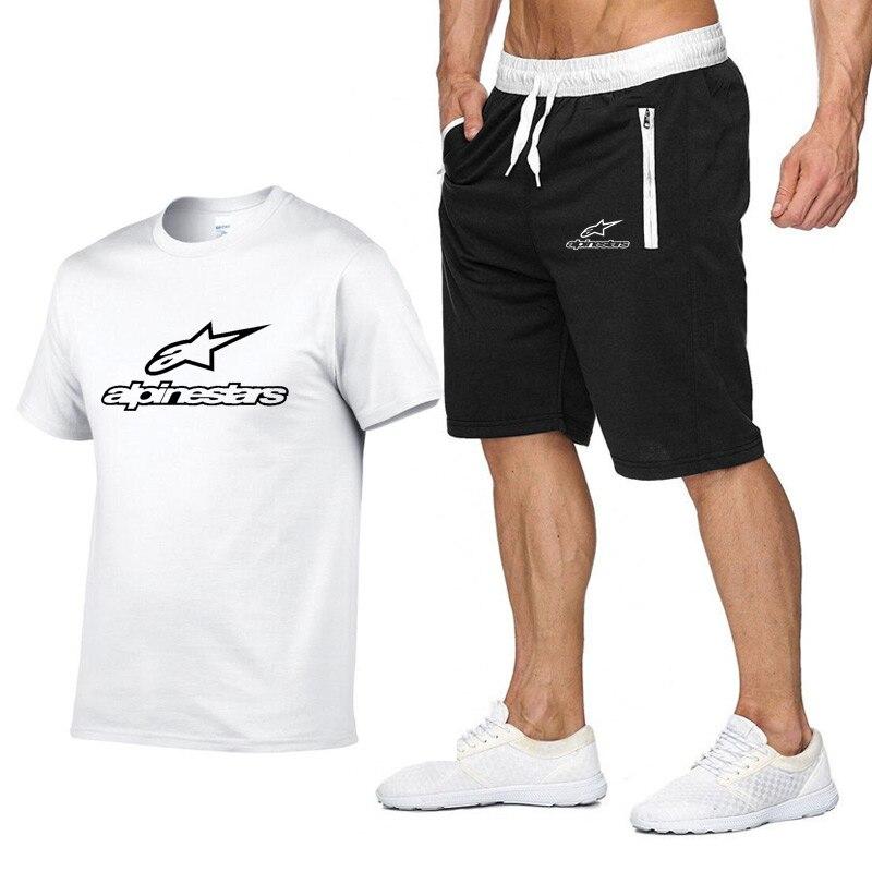 2020 Fashion T-shirt Shorts Set Men Summer 2pc Tracksuit+Shorts Sets Beach Mens Casual Tee Shirts Alpine Stars Set Sportswears