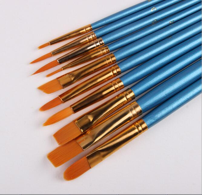 10Pcs/Set Watercolor Gouache Paint Brushes Different Shape Round Pointed Tip Nylon Hair Painting Brush Set Art Supplies(China)