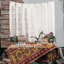 цена на Boho Wedding Decoration Handmade Macrame Wedding Ceremony Backdrop Curtain  Cotton Wall Hanging Tapestry Bohemian Home Decor