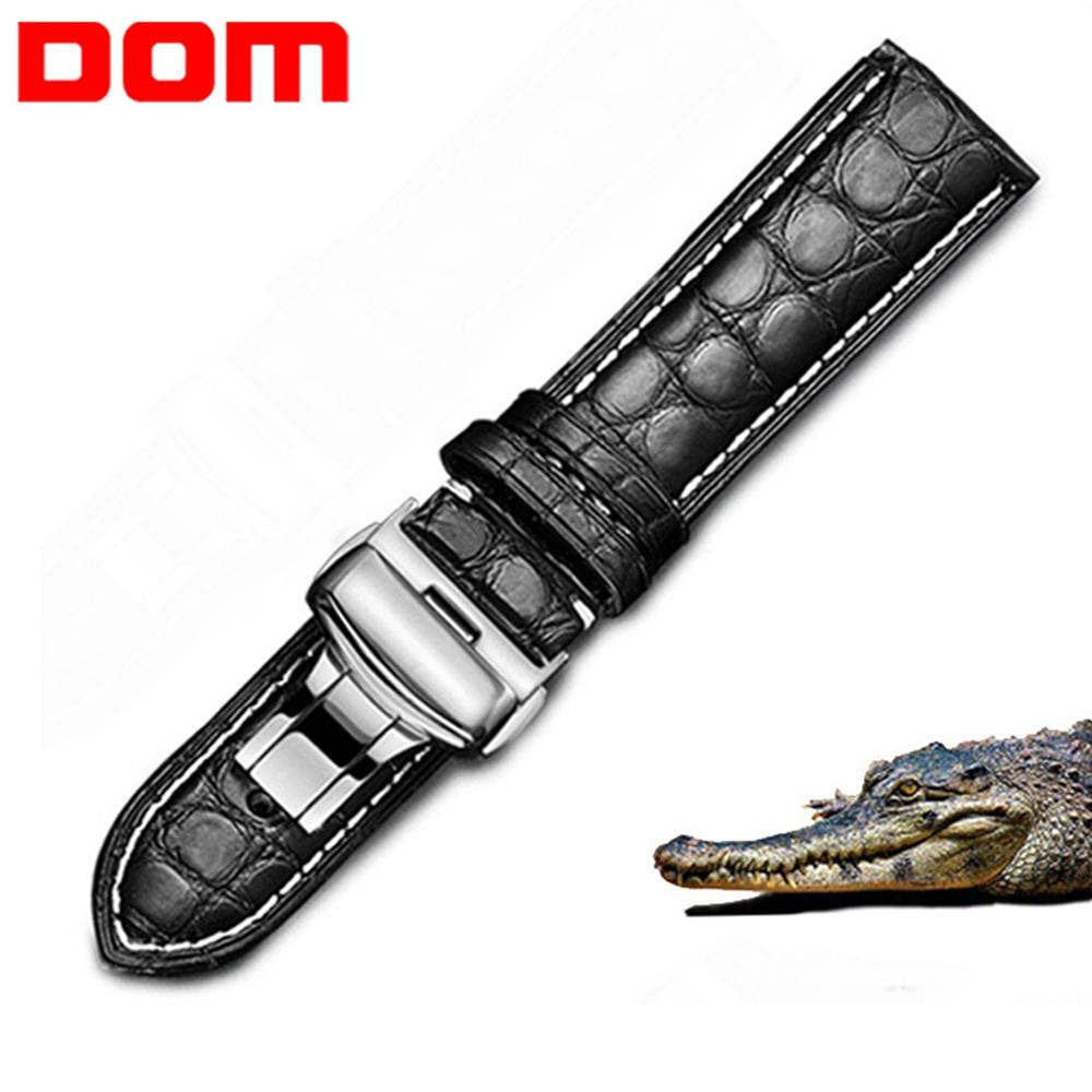 DOM Strap 14mm Watch-Band Crocodile Leather 16mm 20mm 18mm Black 24mm 22mm Women Brown