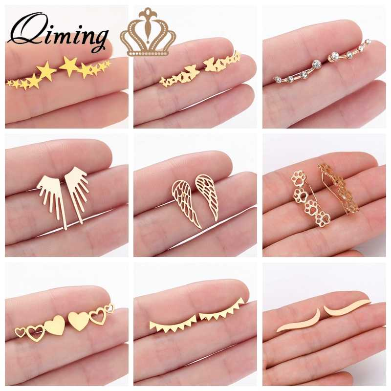 Stainless Steel Ear Climber Earrings Women Ear Crawlers Geometric Love Heart Star Angel Wing Minimalist Cryatal Stud Earrings