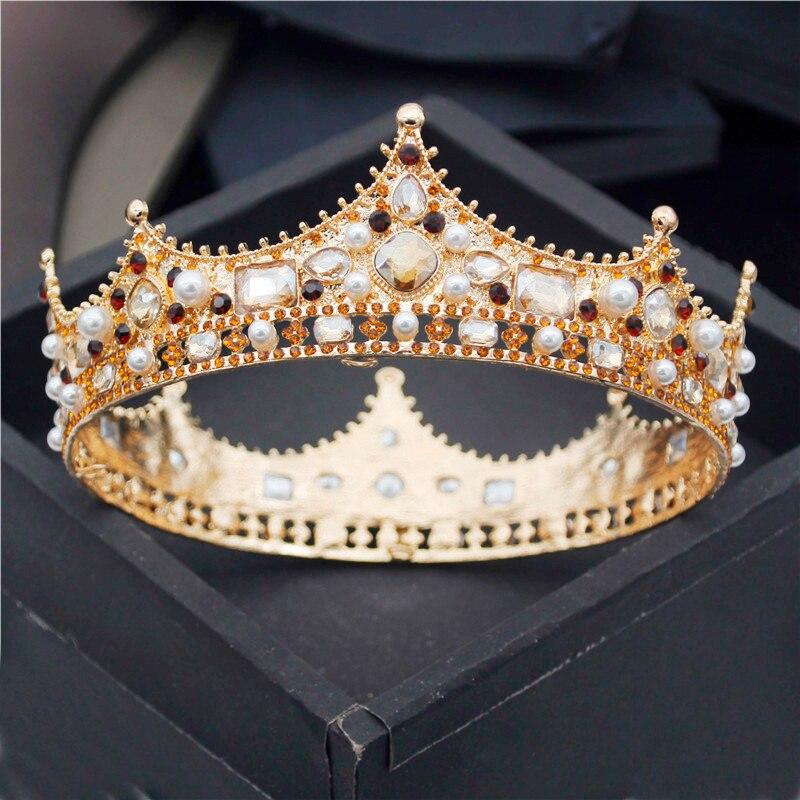 Barroco rei real diadem homens pérolas de cristal metal tiaras casamento coroa jóias cabelo grande cabeça ornamentos acessórios festa baile