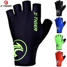 Перчатки для велоспорта X-Tiger, уличные защитные перчатки для горного велосипеда, моющиеся дышащие перчатки из полиэстера и спандекса для гонок на полпальца