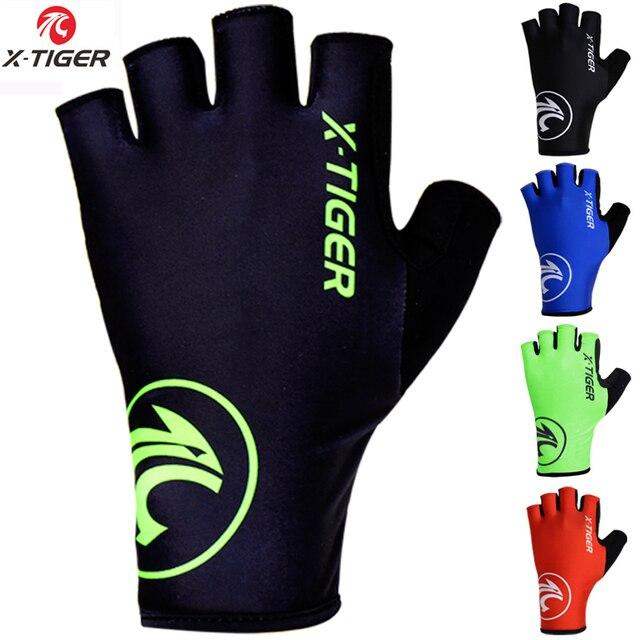 X-tiger luvas de ciclismo ao ar livre mtb, luvas de bicicleta lavável, respirável, spandex, meio dedo, para corrida 1