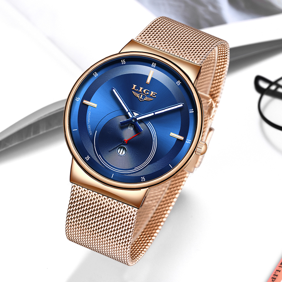 Hcd3c71f9627d4e98b083a82f470e3599U - Watch Women And Men Watch LIGE Top Brand Luxury Ladies Mesh Belt Ultra-thin Watch Waterproof Quartz Wrist watch Reloj Mujer