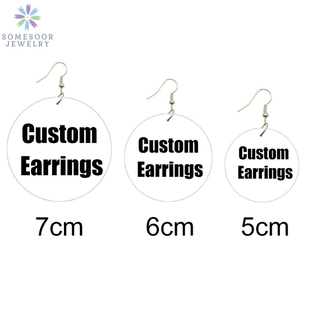 SOMESOOR 3 Sizes Custom Made Round African Wooden Drop Earrings Personalized Photos Printed Ear Dangle Wholesale For Women Gifts