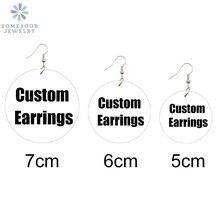 SOMESOOR 3 Sizes Custom-Made Round African Wooden Drop Earri