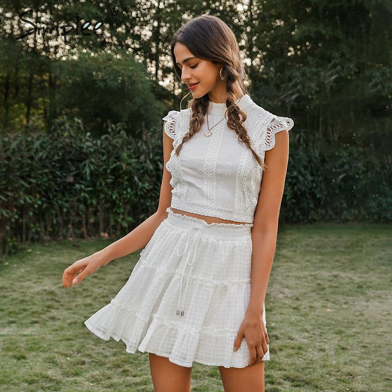 Image 2 - Simplee Two piece white holiday dress women Sleeveless hollow out ruffle lace up mini dresses Summer short top ladies dress 2020Dresses   -