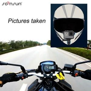 Image 5 - SOONSUN Motorcycle Helmet Front Chin Bracket Holder Strap Mount + Windproof Foam + Frame Case for GoPro Hero 7 6 5 Accessories