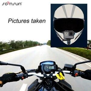Image 5 - SOONSUN motosiklet kask ön çene braketi tutucu askı dağı + rüzgar geçirmez köpük + çerçeve kılıf GoPro Hero 7 6 5 aksesuarları