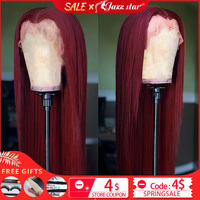Brazilian Wig13x4 Straight Burgundy Lace Front Wig 99J Lace Front Human Hair Wigs for Black Women Pre Plucked Non Remy Jazz Star