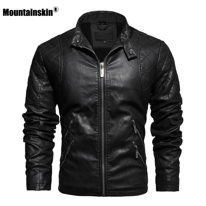 Mountainskin 2020 New Leather Jacket Men Winter Fleece Casual Motorcycle Jackets Autumn Male PU Coat Mens Brand Clothing SA826 1
