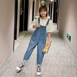 Image 1 - 2020 Spring New Arrival Brief Kids Overalls Pants for Girls Fashion Baby Girls Denim Pants Loose Girls Suspender Pants, #8329