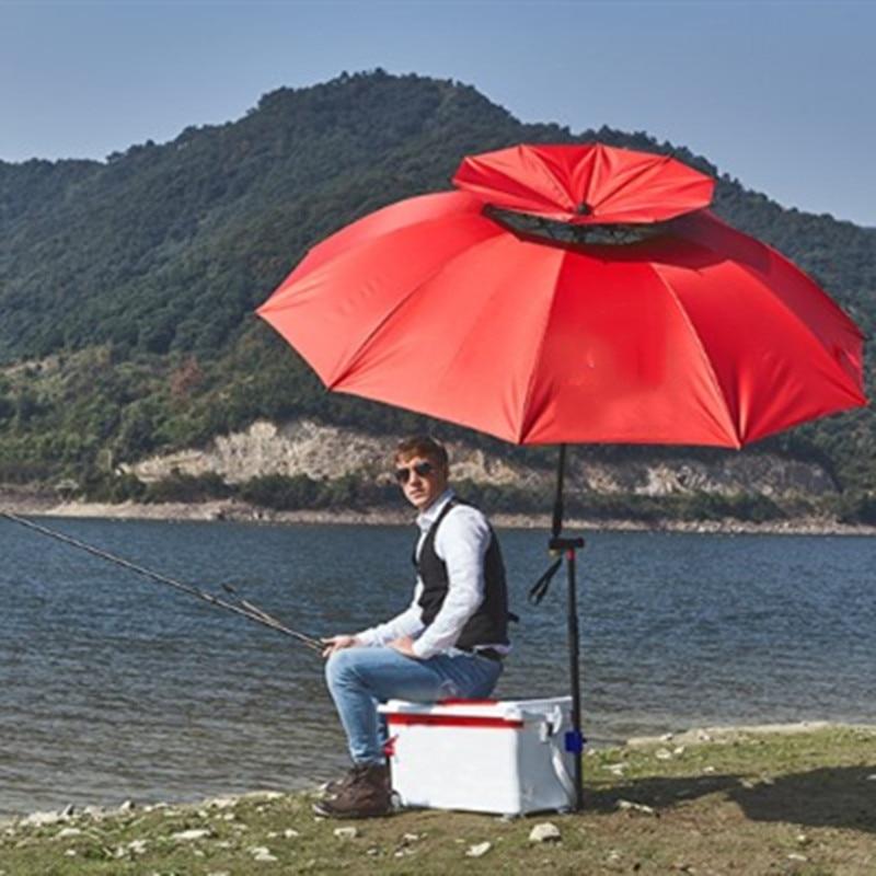 2-2.4 m 2-couche béquille pêche parapluie extérieur ultra-léger Camping Fiber de carbone os anti-pluie protection solaire pli plate-forme auvent - 3