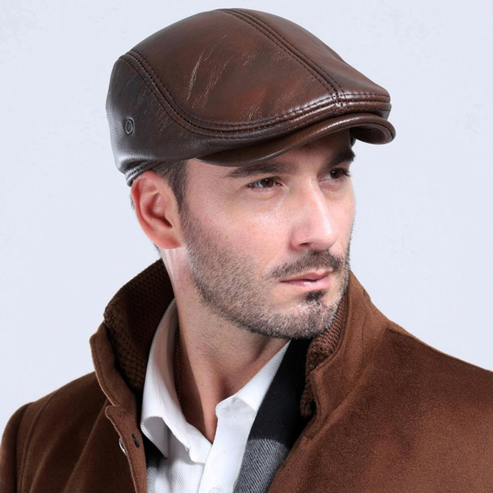 2019 New Fashion Winter Autumn Outdoor Men Faux Leather Beret Hunting Cap Ear Muff Protector Hat