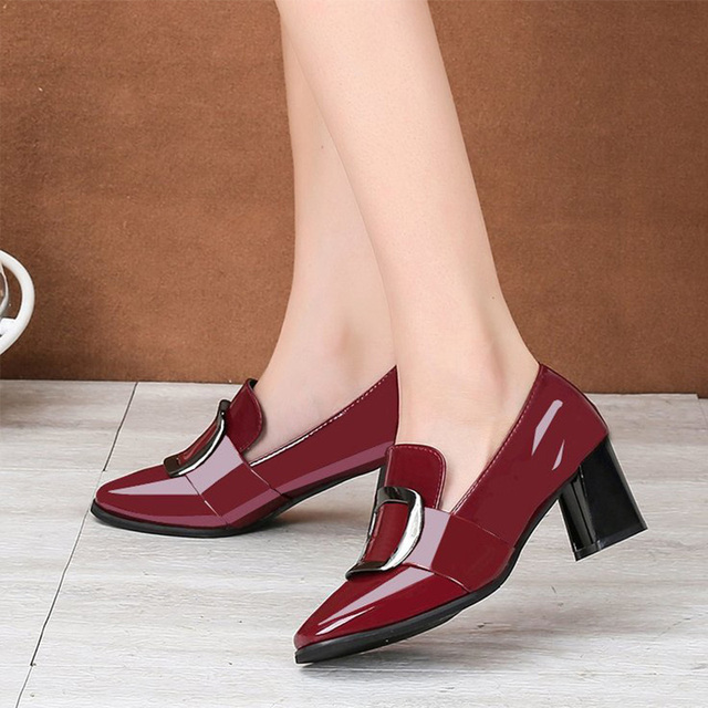 Women's Patent Leather Buckle Pumps Spring Woman Crystal Slip On Square Toe Chunky Heels Female Fashion Ladies Dress Shoes 2