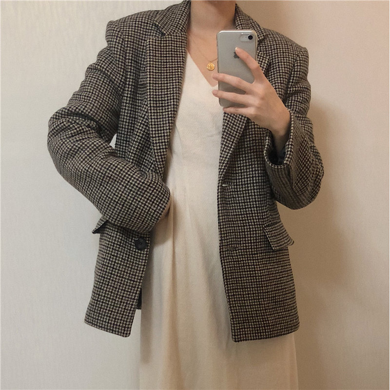 HziriP 2020 Houndstooth Office Lady Woolen Plus Size Hot Loose All Match Fashion OL Women New Gentle Chic Full Sleeves Blazers