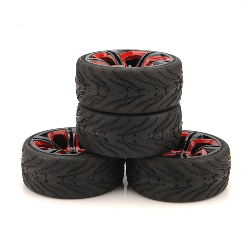 62.5mm Tires 4pcs/Set 1/10 RC Racing Tires Car On Road Wheel Rim For HSP HPI RC Car Accessories P8NKR+Rubber Tire(Devil)