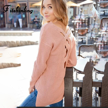 Fitshinling Lace Up 2019 Sweater Woman Winter 2019 Pullover Long Sleeve Pink Jumper Knitted Sweaters Long Sleeve Pull Femme Sale bell sleeve jumper