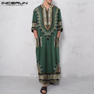 Muslim Kaftan Men Printing Robes V Neck Long Sleeve Pockets Ethnic Vintage Caftan Islamic Arabic Mens Jubba Thobe INCERUN S-5XL