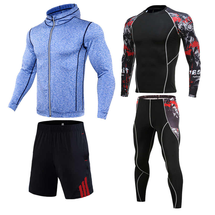 New men's track suit Compression leggings Men's Sports Suit Sweatshirt tights T-shirt Gym training clothes quick-drying clothes
