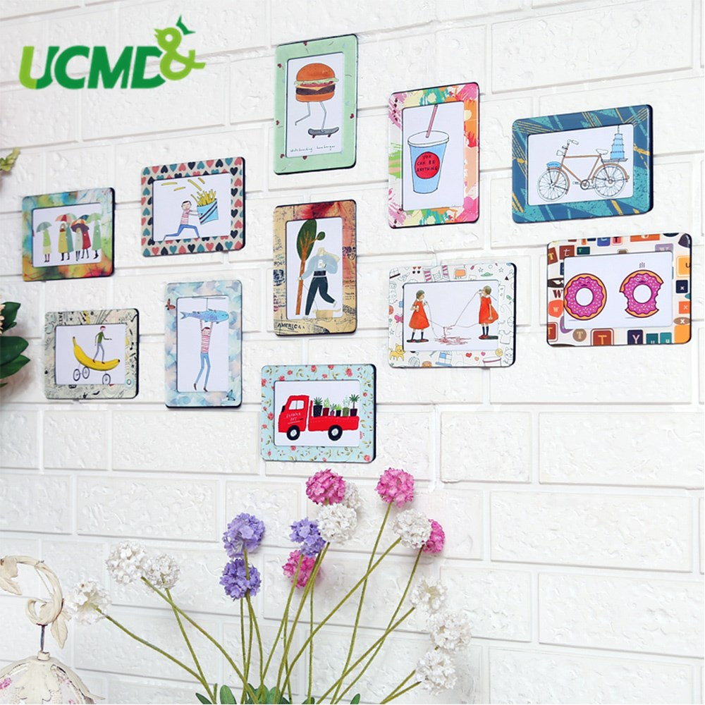 11pcs 5 Inch Magnetic Picture Frame Fridge Whiteboard Sticker Baby Kids Painting Picture Poster Photo Frame Home Wall Art Decor