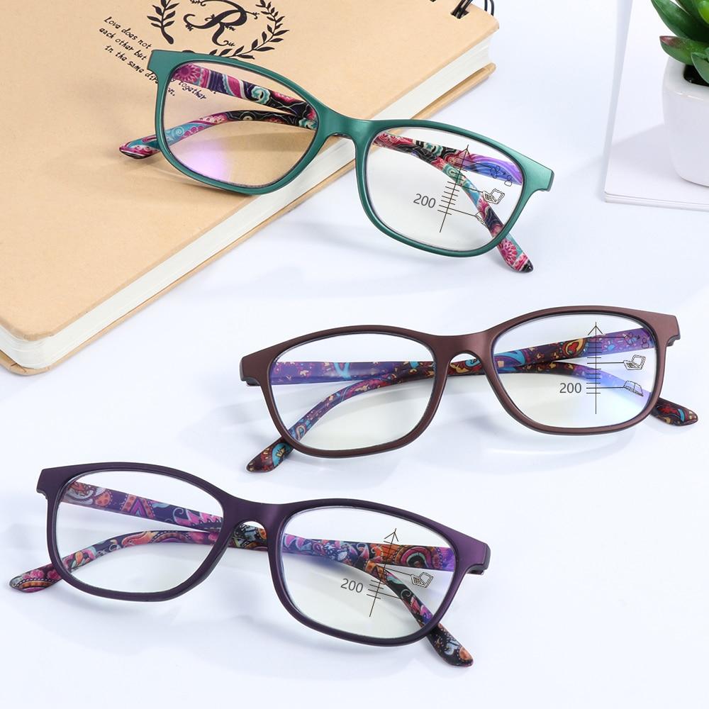 Multifocal Reading Glasses Progressive Bifocal Anti Blue Ray UV Protect Presbyopic Eyeglasses Computer Eyewear +1.0~+3.5