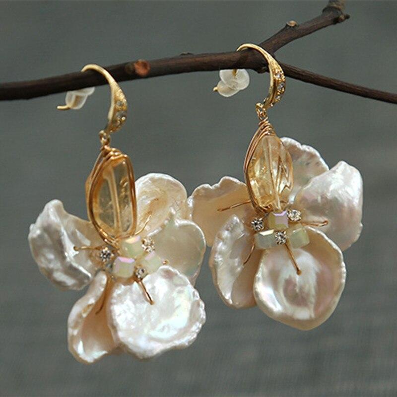 Bebeoso spécial en forme de perle flocon cristal fait à la main délicate boucles d'oreilles nouveau design bohème boucles d'oreilles pour les femmes bijoux