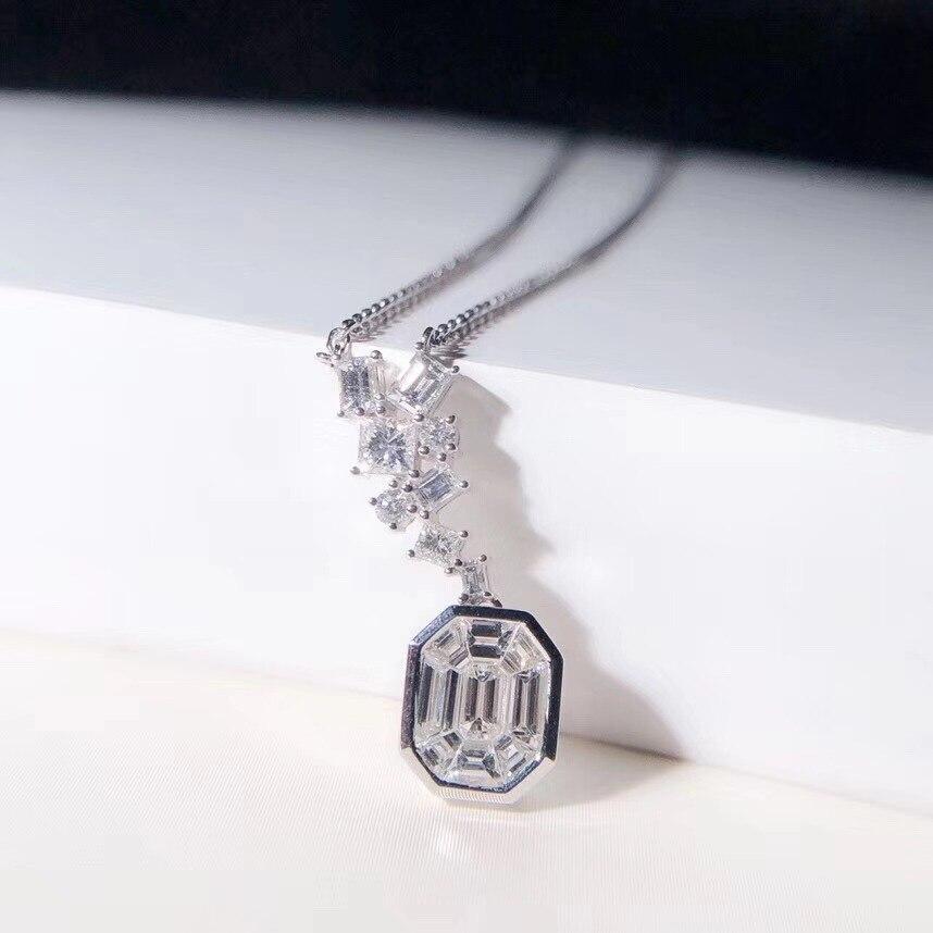 AEAW vendre chaud 18k or blanc Top classe dame mode émeraude coupe pendentif collier pour les femmes