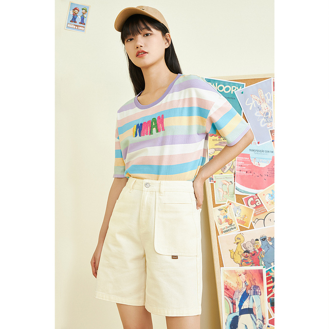INMAN Summer Women's Shorts Casual Retro Literary Style Creative Stitching Pocket Logo Wide Cuffs Cotton Pure Color Bottoms 2