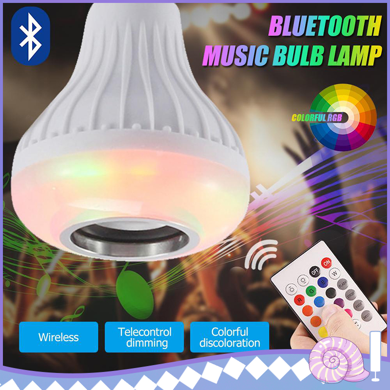 Screw Colorful RGB Smart Stereo Bluetooth Bulb Wireless Smart Bulb LED Light Speaker Music Playing Lamp Remote Control Dropship