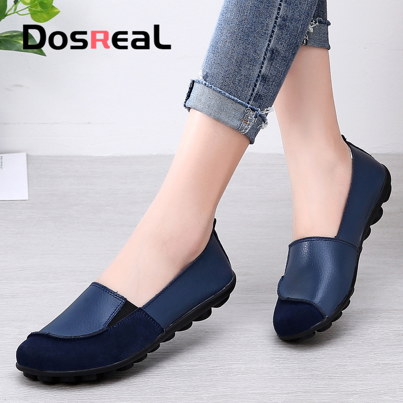 Dosreal Women Flats Shoes Cow Leather Shallow Fashion Loafers Shoes For Females Sewing Ballet Flats Moccasins Soft Loafers Shoes
