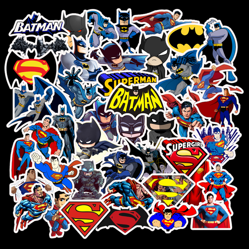 45pcs Batman Superman DC Super Heroes Stickers Mixed Cartoon Logo Stickers For Laptop Luggage Notebook Wall Funny Toys For Kids
